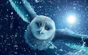 Wallpaper flight, night, owl, cartoon