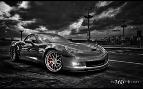 Picture black and white, b/W, corvette, 360, chevrolet