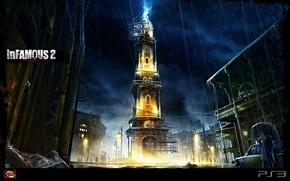 Picture rain, lightning, watch, tower, inFamous 2