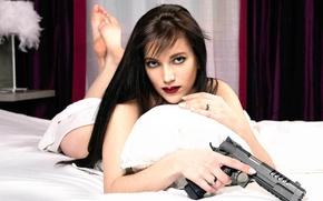 Wallpaper girl, gun, Nikita
