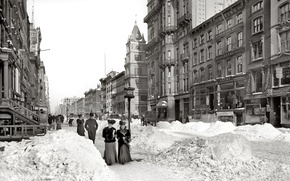 Wallpaper retro, 1905-God, snow, winter, street, USA, New York