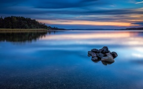 Picture stones, surface, reflection, nature, trees, shore, blue, the evening, water, Norway, clouds, the sky, river, ...