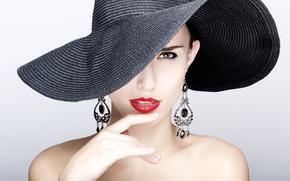Picture model, earrings, Hat, fashion