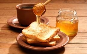 Wallpaper tea, coffee, food, Breakfast, honey, Cup, Bank, delicious, toast