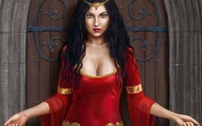 Picture girl, castle, hands, dress, the door, art, in red, Harbinger Chronicles, Isadora