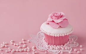 Picture decoration, pink, cream, pink, sweet, cupcake, cupcake, baby, delicate