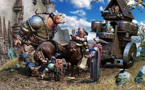 Picture letter, castle, sword, art, wagon, knight, greger pihl, oxen, travelers