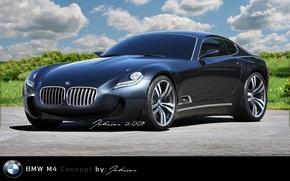 Picture Concept, Grass, Clouds, Asphalt, BMW M4, Sky