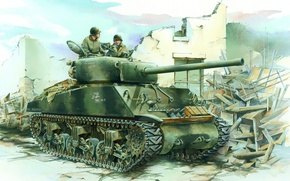 Picture figure, tank, the second world war, Sherman, tankers, sherman