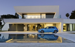 Picture blue, house, pool, Mercedes, Mercedes, A class