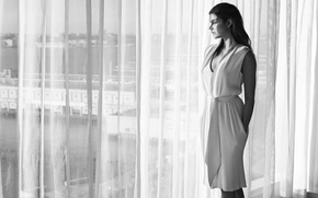 Picture photo, model, dress, brunette, window, hairstyle, curtains, black and white, photoshoot, Barbara Palvin, Barbara Palvin, …