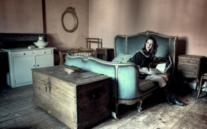 Picture girl, room, furniture