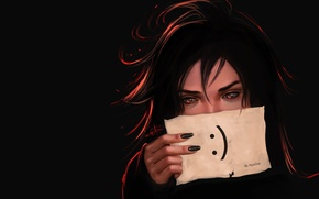 Picture look, girl, sheet, hand, art, black background, nails, smiley