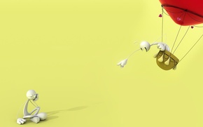 Picture balloon, the situation, minimalism, hearts, flight, chelovechik, two