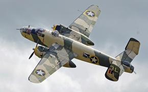 Wallpaper B-25J, Mitchell, twin-engine, North American, average, American, bomber, flight