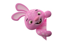 Wallpaper character, monster, smile, rabbit, pink, funny, cute