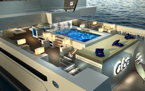 Picture pool, luxury, exterior, spaces aboard, yacht CUBE