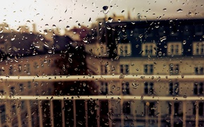 Picture autumn, glass, drops, the city, rain, window, wet