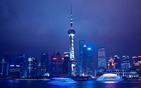 Wallpaper home, panorama, Shanghai, lights, China, tower, night, the sky, river, clouds