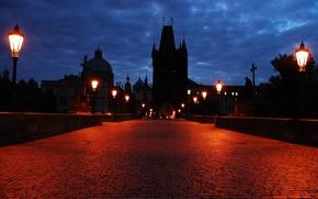 Wallpaper lights, bridge, the evening, pavers, castle