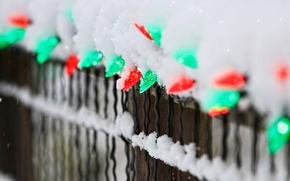 Picture winter, snow, lights, the fence, fence, green, red, garland, holidays