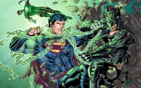 Picture battle, chain, Batman, Green Lantern, Green Lantern, Superman