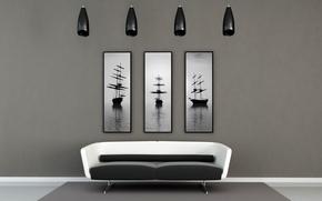 Picture design, style, room, sofa, ship, interior, pictures, apartment