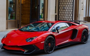 Picture the city, street, Roadster, Lamborghini, supercar, LP700-4, Aventador