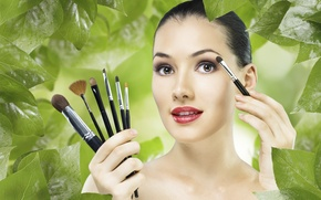 Picture girls, Face, brush.makeup, green.foliage