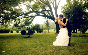 Picture the bride, guy, tree, costume, greens, white, girl, the groom, grass, kiss, dress