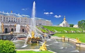 Picture summer, Saint Petersburg, fountain, Palace, Peterhof, Petrodvorets