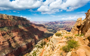 Wallpaper USA, clouds, rocks, the sky, Grand Canyon National Park, gorge, canyon, mountains, Sunny, stones