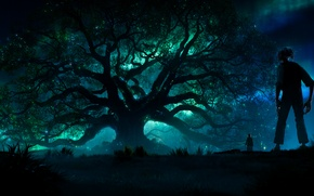 Wallpaper tale, family, adventure, fantasy, Sophie, Mark Rylance, forest, night, the film, lights, tree, lights, The ...