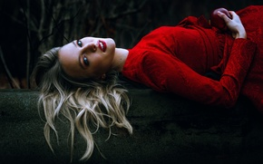 Picture Anne Hoffmann, Apple, makeup, girl, in red