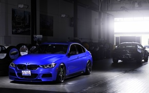 Picture blue, BMW, BMW, wheels, blue, 335i, vossen, The 3 series, f30, frontside