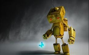 Wallpaper Melancholy Robot, Paul Gogola, robot, butterfly