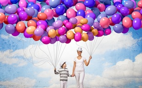 Wallpaper balls, joy, happiness, balloons, people, colorful, happy, sky, people, balloons, family