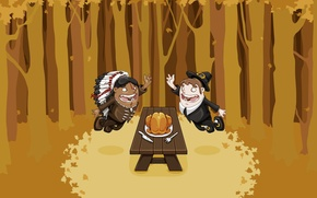 Picture wood, autumn, american, indian, friends, tree sheets