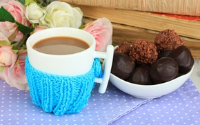 Picture love, tea, heart, coffee, Cup, flowers, chocolate, coffee, roses, drink