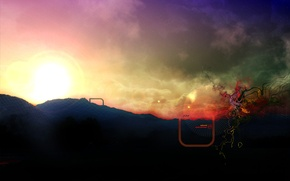Picture color, the sun, mountains, abstraction, mesh