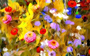 Picture line, flowers, rendering, paint, garden, meadow, touch