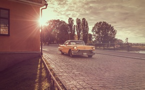 Picture Cadillac, yellow, sunset, 1956, Coupe DeVille