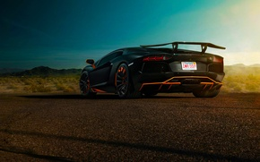 Picture Lamborghini, Sky, Blue, Black, Sun, LP700-4, Aventador, Spoiler, Rear