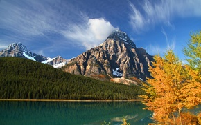 Picture autumn, forest, trees, mountains, lake, Canada, Albert, Banff National Park, Alberta, Canada, Banff, Howse Peak, ...