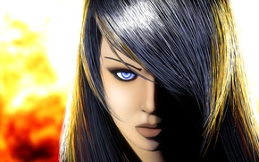 Picture look, girl, light, face, background, hair, art, lips, blue eyes