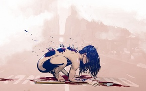 Picture girl, blood, monster, tattoo, art, spikes, tattoo, spear