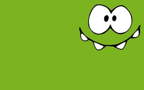 Picture green, small, monster, Lollipop, character, happy, Cut the Rope, minimalism., Amateur, the universe, Om-Nom, Am …