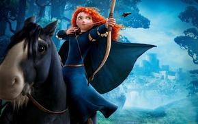Picture castle, horse, bow, riding, Brave, Merida, Merida, Angus