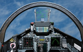 Picture cockpit, the plane, fighter jet, pilot, sky, height, supersonic, display, cabin, interceptor, nadolany, the wheel, ...