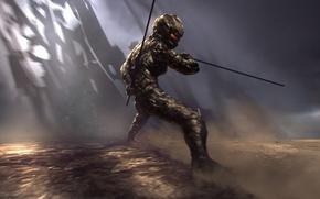 Picture attack, sword, warrior, costume
